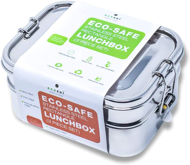 Stainless Steel Eco Lunch Box, Leak Proof, 2 Tier with 1 Mini Sauce Container, 60 Oz or 1700 ml