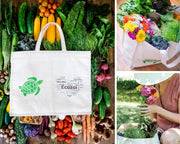 photo of organic cotton produce bag showing the ability to hold a lot of organic produce and flowers