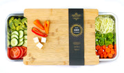 Bamboo Cutting Board with 2 Organizing Stainless Steel Trays, Extra Large