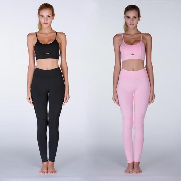 Two Piece Set Sportswear Solid Crop Top+Long Pant Athleisure Women Suit Gym Sports Bra+Legging