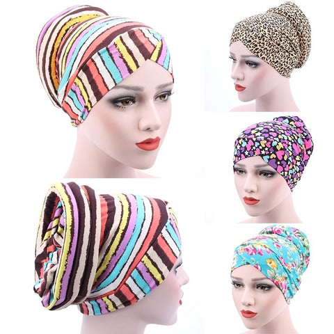 Muslim Stretch Turban Hat Chemo Cap New Casual Beanies Hair Loss Fashion Head Scarf Wrap Hijib Cap