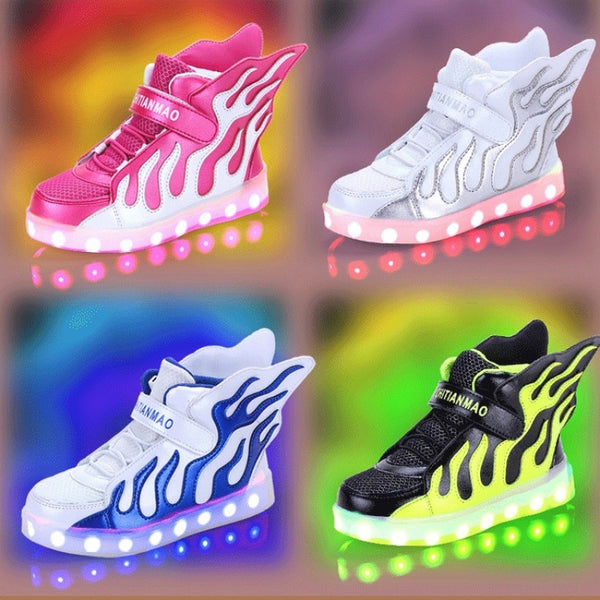 LED Light Up Velcro Wings Kids Dance Shoes Children USB Charger Sneakers Boys Girls sports Luminous shoes (Pink,Green,Silver,Blu