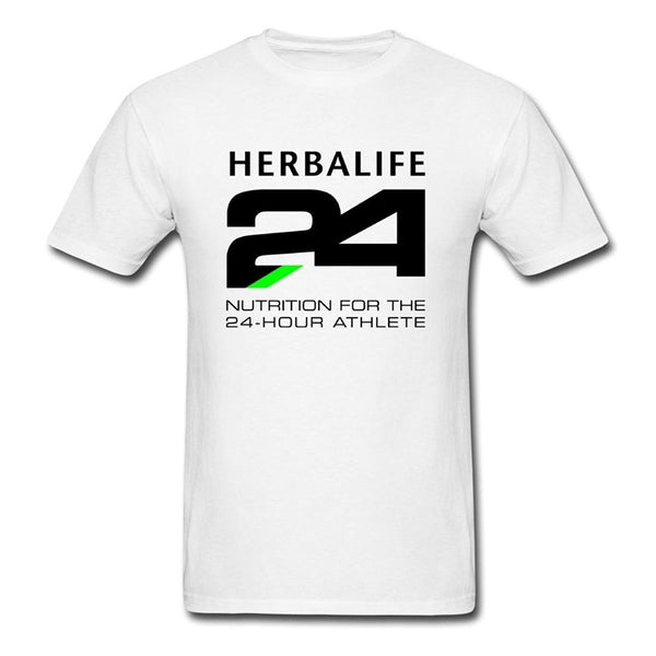 Men's Short Sleeve Funny Cool Vogue Gorgeous White Herbalife 24 T-shirt