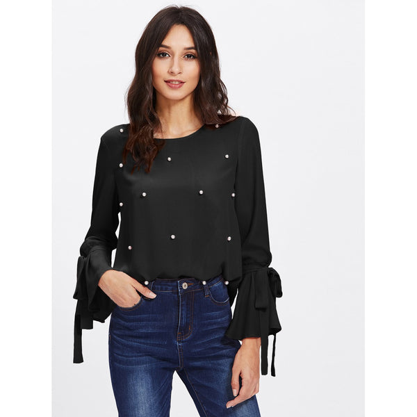 Pearl Embellished Bow Tied Bell Cuff Blouse
