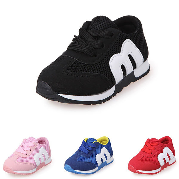 Children Boys Girls Running Sports Lacing Up Sneaker Kids Casual Shoes