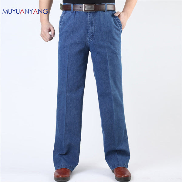 Men Casual Middle Waist Loose Long Jeans