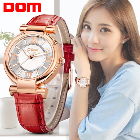 Watch Women DOM brand luxury Fashion Casual quartz watches leather sport for women
