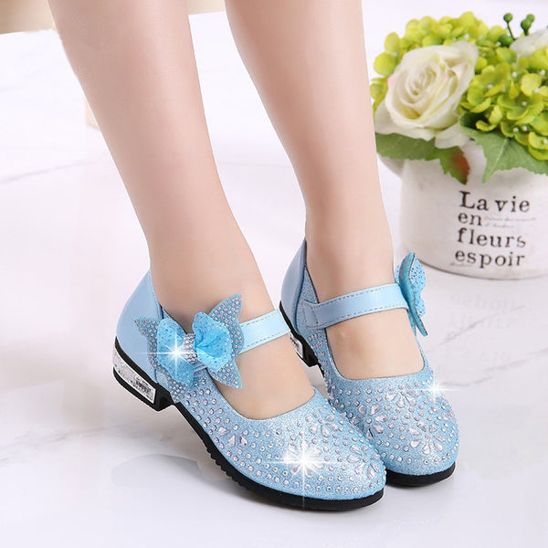Children's Shoes Girls Princess Party Kids Girls Leather Shoes Princess Shoes for Girls Kids Dress Hot Drilling Size 26-36
