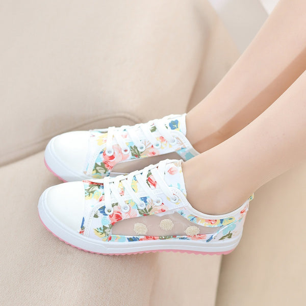 Women Summer Platform Flat Casual Floral Print Lace Up Canvas Shoes Athleisure
