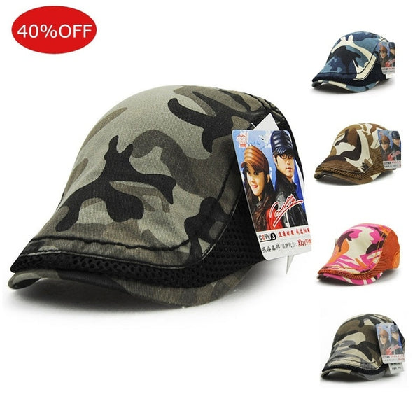 Unisex Women Men Camo Mesh Gatsby Duckbill Ivy Cap Golf Driving Flat Cabbie Newsboy Hat Adjustable Cap