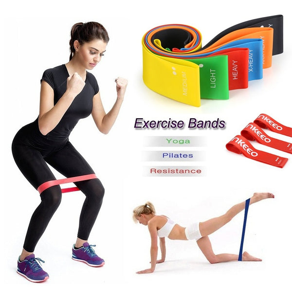 Enkeeo Exercise Resistance Bands Workout Loop for Yoga Pilates Body Building Gym Home Fitness with Carry Bag