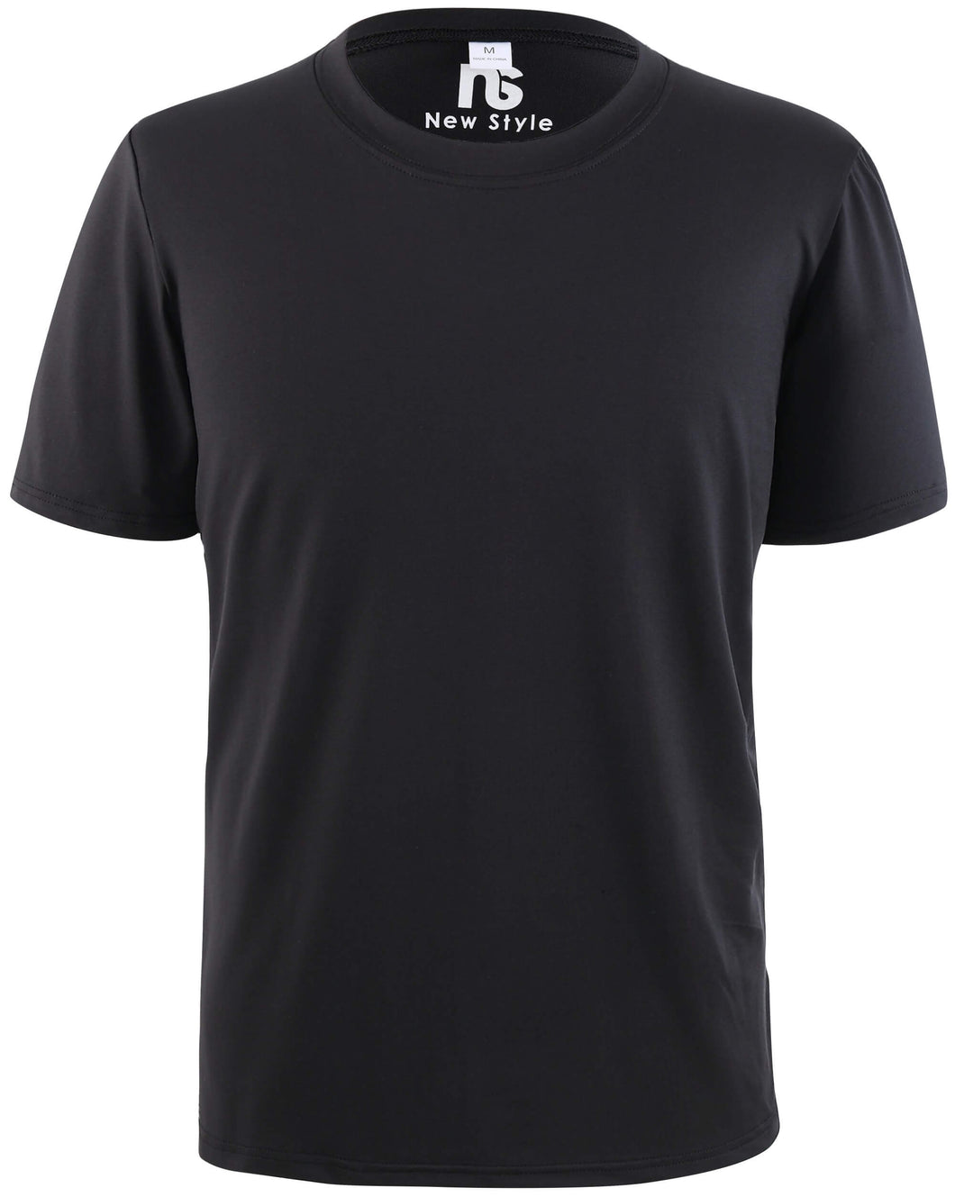 New Style Premium Moisture-Wicking All-Sport Short-Sleeve T-Shirt Front Black