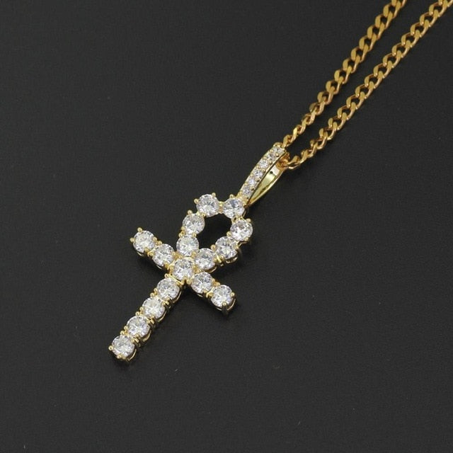 Iced Ankh Cross Pendant