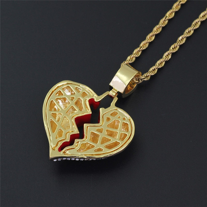 Iced out broken heart chain