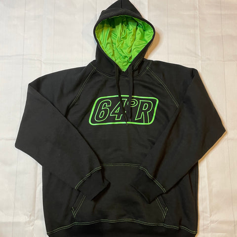 Black with green logo hoodie