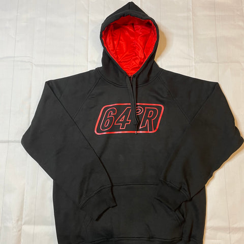 Black with red logo hoodie