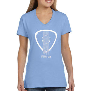 Hanes Ladies Shirt Light Blue - Strummin' the Streets  Imprints white