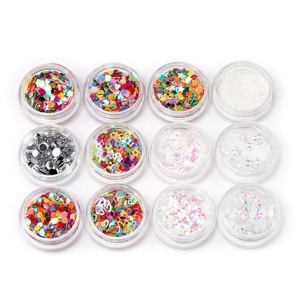 12 Piece Mixed Sequins Nail Art and Body Sequin Decoration