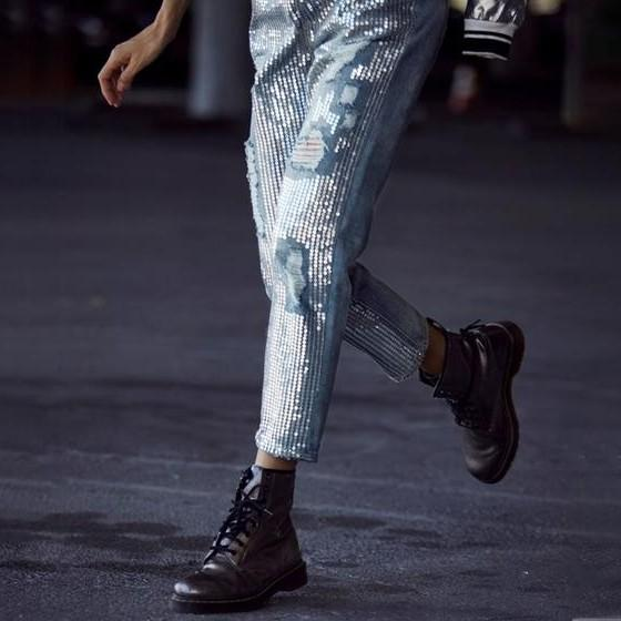 Lyla Sequin Ripped Jeans - Studio Runway