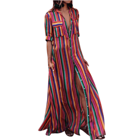 Portia Boho Striped Maxi Dress - Studio Runway