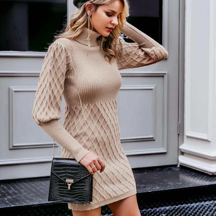 Lilly Turtleneck Cable Knit Sweater Dress