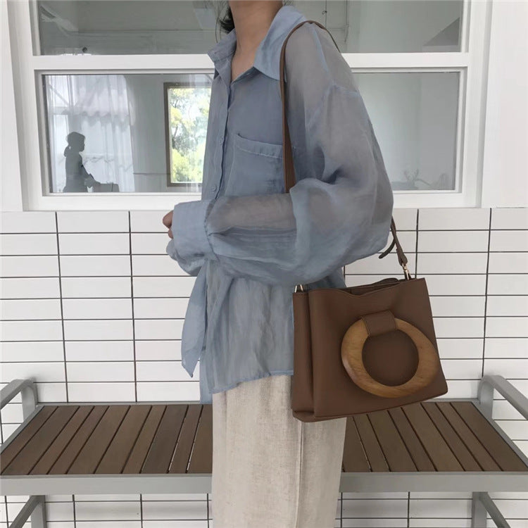 Isabelle Wooden Handle Tote