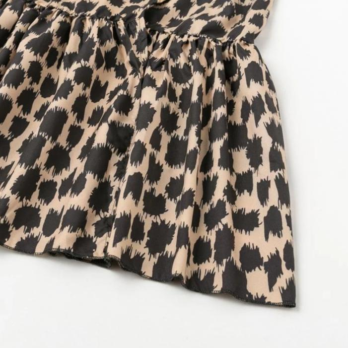 Geraldine Leopard Ruffle Sleeve Dress