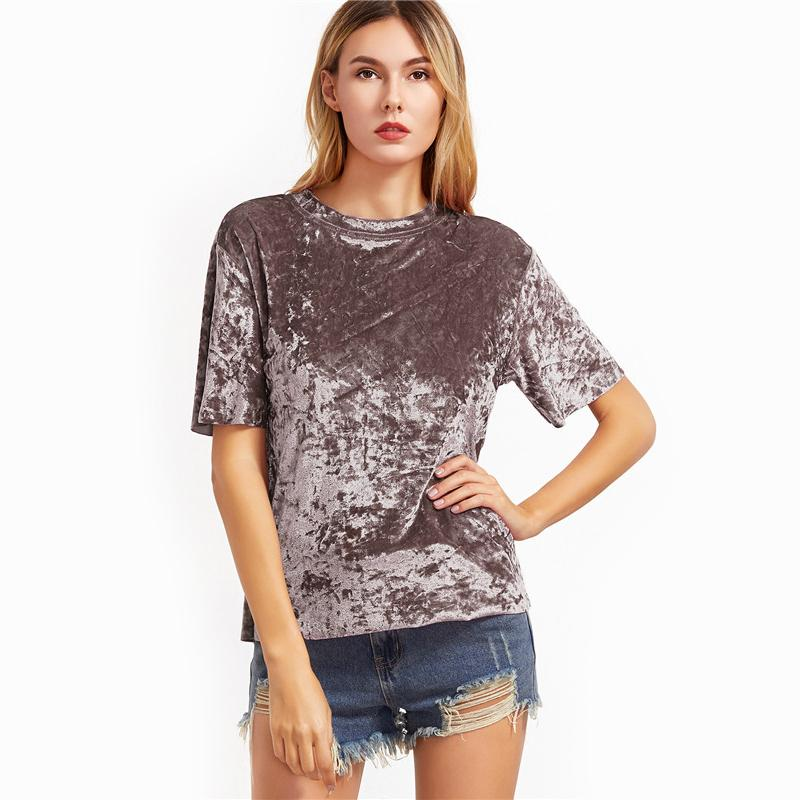 Alexis Crushed Velvet T Shirt - Studio Runway