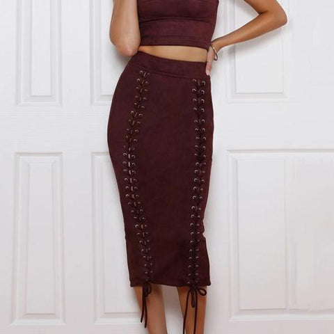 Gabrielle Suede Pencil Skirt - Studio Runway