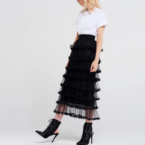 Fallon Mesh Tiered Midi Skirt - Studio Runway