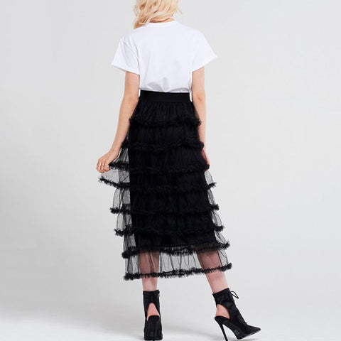 Image of Fallon Mesh Tiered Midi Skirt - Studio Runway