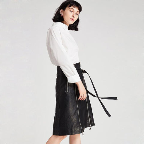 Image of Blaire PU Midi Skirt - Studio Runway