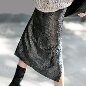 Fleur Sequin Split Midi Skirt - Studio Runway