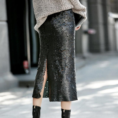 Image of Fleur Sequin Split Midi Skirt - Studio Runway