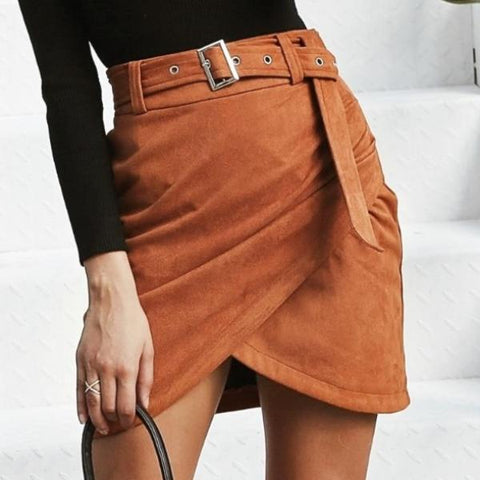 Image of Leona Asymmetric Suede Skirt - Studio Runway