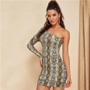 Martina One Shoulder Snakeskin Party Dress - Studio Runway