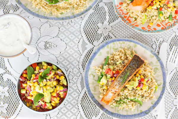 Grilled Salmon and Quinoa Salad with Avocado Salsa