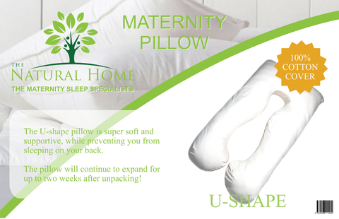 Pregnancy Pillow, Full Body Maternity Pillow with Contoured U-Shape by The Natural Home, Back Support