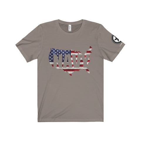Navy Shore-to-Shore American Flag Men's Tee - 50 Stars Apparel Co.