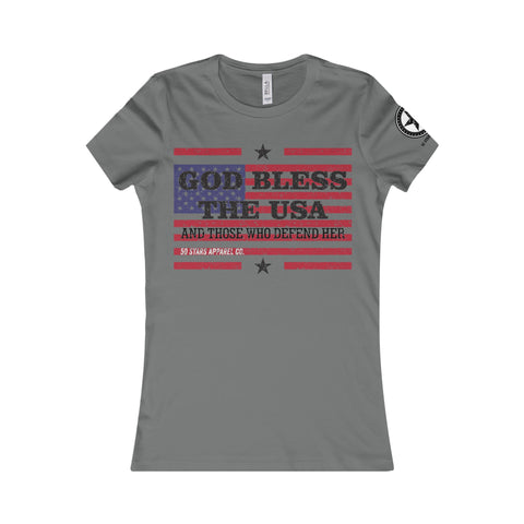 God Bless America 2 (Front) Women's Tee - 50 Stars Apparel Co.