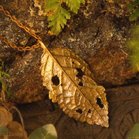 Timeless Alder Leaf Pendant-  In Brass