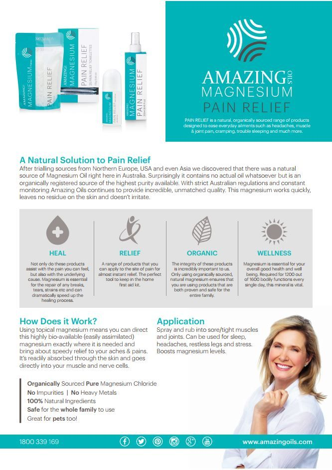 Amazing Oils A5 NATURAL RELIEF Info Sheet