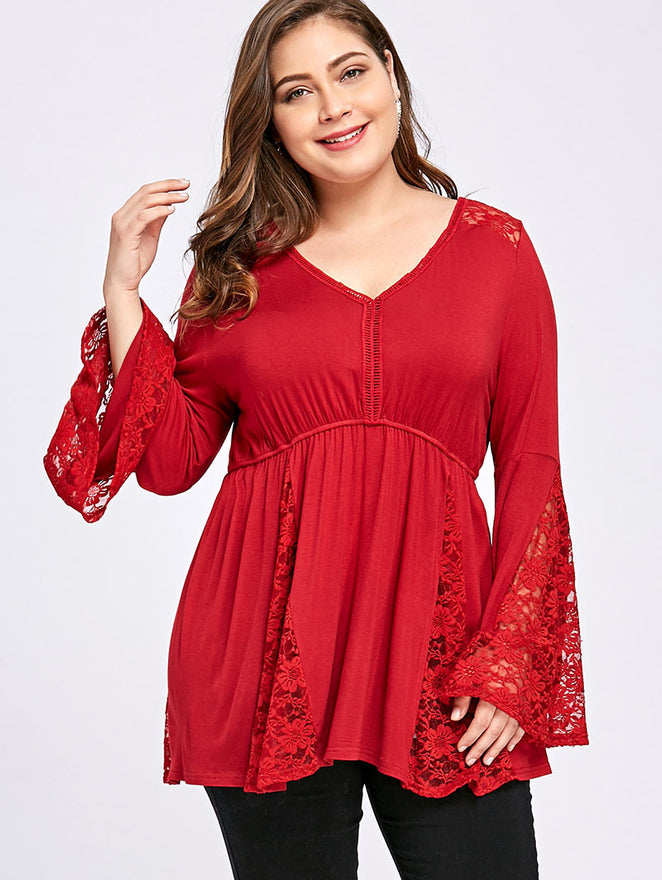 Lace Crochet Red Tunic Top