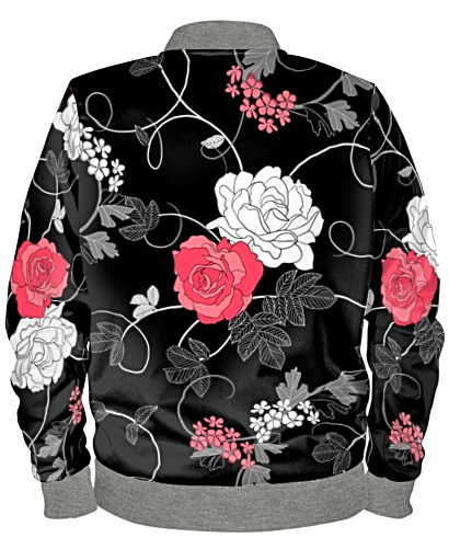 Black pink white floral print bomber jacket by mark loring black pink white floral print bomber jacket by mark loring mightylinksfo