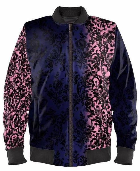 Blue Fade To Pink Designer Bomber Jacket By Mark Loring