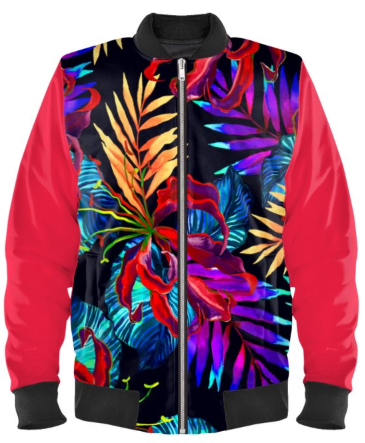 Botanical Glow Bomber Jacket By Mark Loring