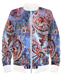 Denim Colored Paisley Bomber Jacket By Mark Loring