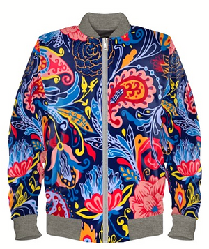 Floral Paisley Carnival Bomber Jacket By Mark Loring