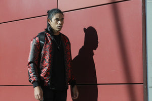 Black & Red Damask Bomber Jacket By Mark Loring