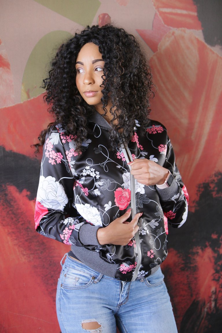 Black Pink & White Floral Print Bomber Jacket By Mark Loring